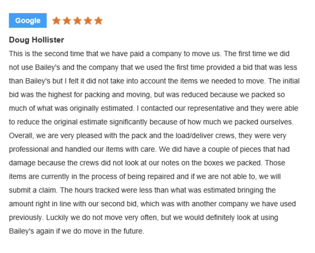 Doug H Local Moving Review for Bailey's Moving & Storage